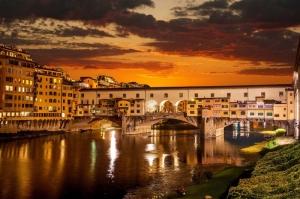 Ponte Vecchio, Eski Köprü Floransa Tarihi Yerler-2 Dünyaca Ünlü Şehirler Kanvas Tablo