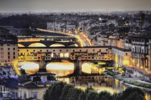 Ponte Vecchio, Eski Köprü Floransa Tarihi Yerler-35 Dünyaca Ünlü Şehirler Kanvas Tablo