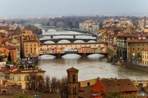 Ponte Vecchio, Eski Köprü Floransa Tarihi Yerler-5 Dünyaca Ünlü Şehirler Kanvas Tablo