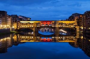 Ponte Vecchio, Eski Köprü Floransa Tarihi Yerler-7 Dünyaca Ünlü Şehirler Kanvas Tablo