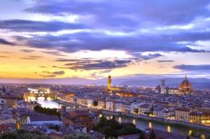 Ponte Vecchio, Eski Köprü Floransa Tarihi Yerler-8 Dünyaca Ünlü Şehirler Kanvas Tablo