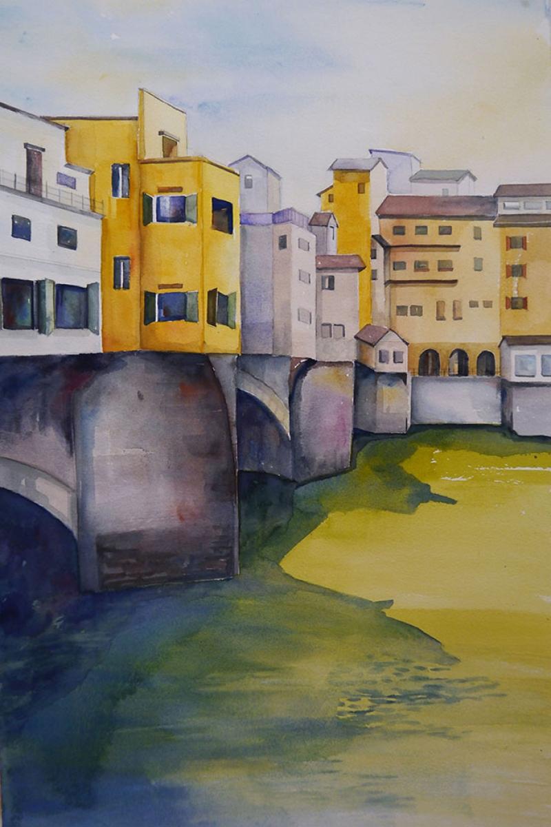 Ponte Vecchio Eski Kopru Floransa Tarihi Yerler Yagli Boya Sanat Kanvas Tablo