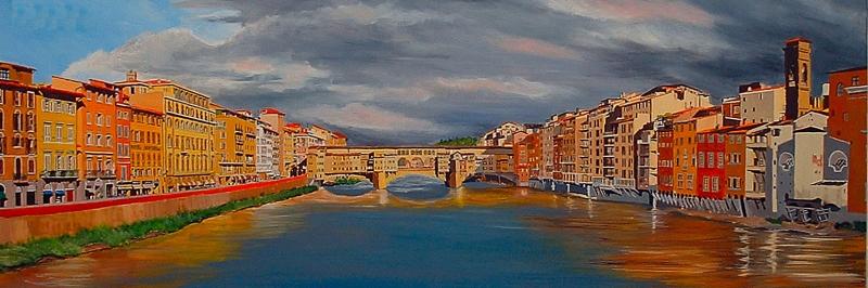 Ponte Vecchio Floransa Italya Sehir Manzarasi Yagli Boya Sanat Kanvas Tablo