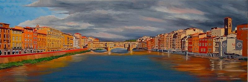 Ponte Vecchio Floransa İtalya Şehir Manzarası Yağlı Boya Sanat Kanvas Tablo