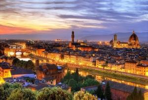 Ponte Vecchio Michelangelo Meydanı, Ponte Santa Trinita, Floransa\'ya Kuş Bakışı-2 Dünyaca Ünlü Şehirler Kanvas Tablo