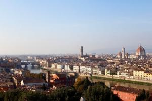 Ponte Vecchio Michelangelo Meydanı, Ponte Santa Trinita, Floransa\'ya Kuş Bakışı, Dünyaca Ünlü Şehirler Kanvas Tablo