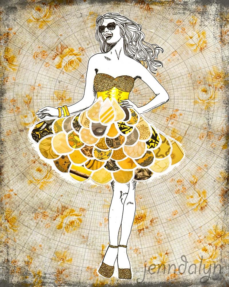 Pop Art Kızı Kolaj Yağlı Boya Sanat Kanvas Tablo
