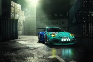Porsche Modifiyeli Spor Otomobil Yeşil Mavi Kanvas Tablo