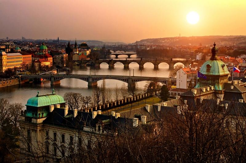 Prag Gün Batımı Manzarası Dünyaca Ünlü Şehirler Kanvas Tablo
