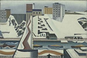 Preston Dickinson Harlem Nehri Yagli Boya Klasik Sanat Kanvas Tablo