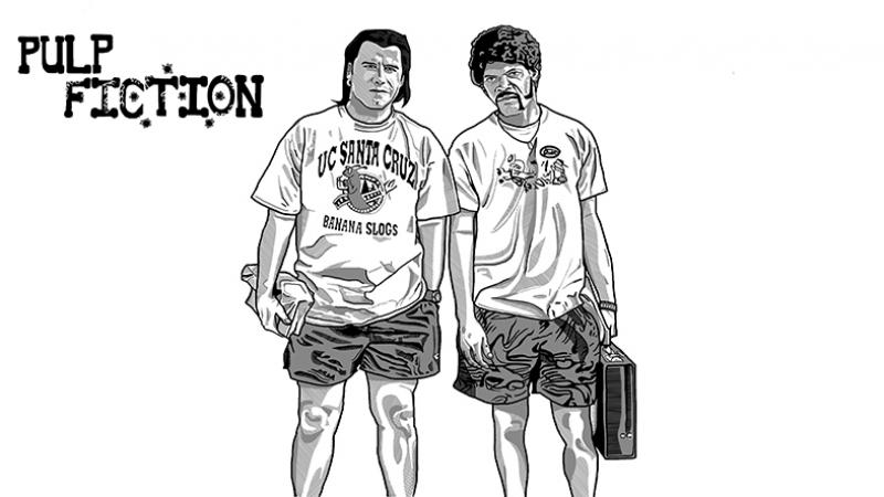 Pulp Fuction John Travolta Samuel Le Jackson Kanvas Tablo