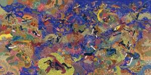 Raqib Shaw Dunyasal Zevkler Bahcesi Yagli Boya Klasik Sanat Kanvas Tablo