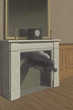 Rene Magritte Belçika Sürrealizim Mihlanmıs Zaman,Time Transfixed Klasik Sanat Kanvas Tablo