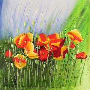 Rengarenk Çiçekler 1, Floral Dekoratif Kanvas Tablo