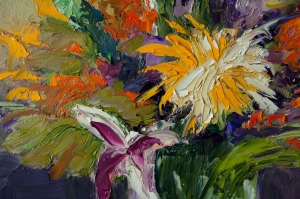 Rengarenk Çiçekler 10 Yağlı Boya Dekoratif Kanvas Tablo