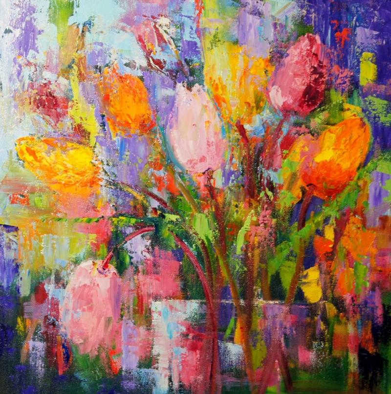 Rengarenk Çiçekler 15, Floral Dekoratif Kanvas Tablo
