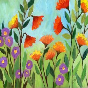 Rengarenk Çiçekler 16, Floral Dekoratif Kanvas Tablo