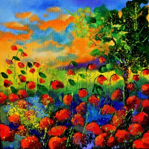 Rengarenk Çiçekler 2, Floral Dekoratif Kanvas Tablo