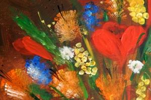 Rengarenk Çiçekler 4 Yağlı Boya Dekoratif Kanvas Tablo