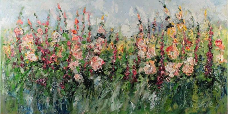 Rengarenk Çiçekler 4 Yağlı Boya Floral Sanat Kanvas Tablo