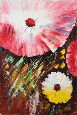 Rengarenk Çiçekler 6 Yağlı Boya Dekoratif Kanvas Tablo