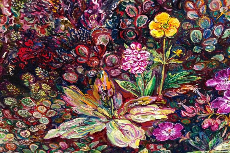 Rengarenk Çiçekler 7 Yağlı Boya Dekoratif Kanvas Tablo