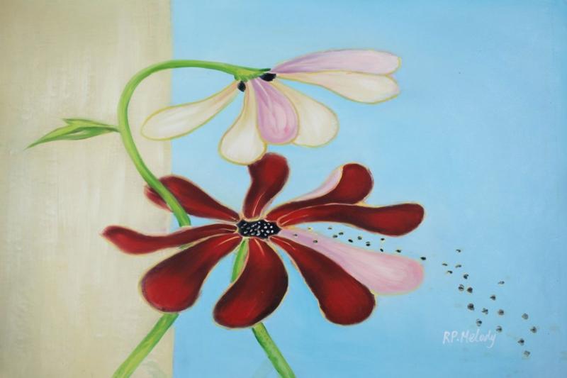 Rengarenk Çiçekler 7 Yağlı Boya Floral Dekoratif Kanvas Tablo