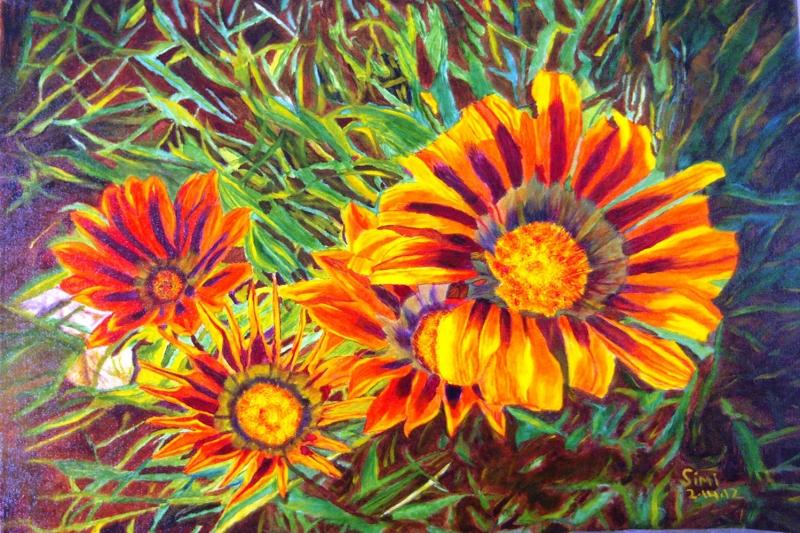 Rengarenk Çiçekler 8 Yağlı Boya Dekoratif Kanvas Tablo