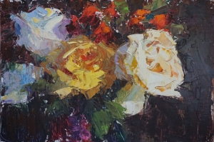 Rengarenk Güller 3 Yağlı Boya Dekoratif Kanvas Tablo