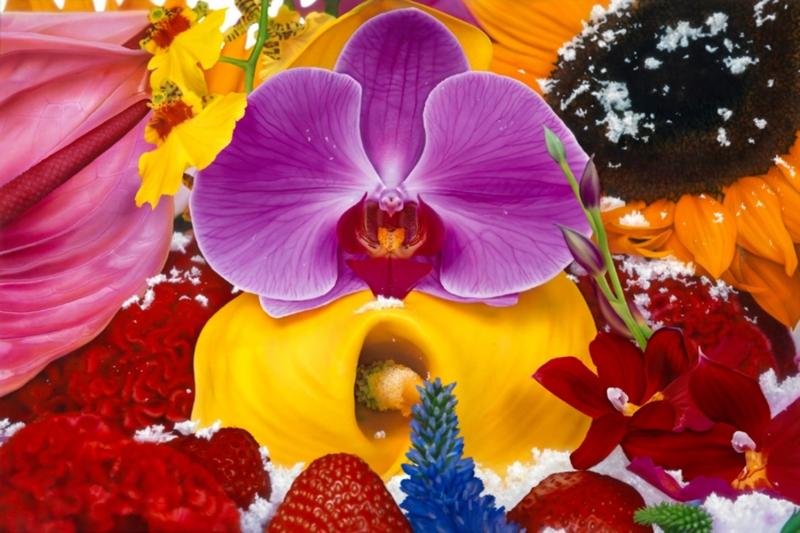Rengarenk Orkide 3 Yağlı Boya Dekoratif Kanvas Tablo
