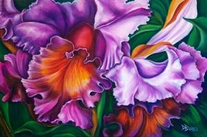 Rengarenk Orkide 8 Yağlı Boya Dekoratif Kanvas Tablo