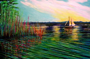 Rengarenk Sular, Göl, Yelkenli Modern Sanat Kanvas Tablo