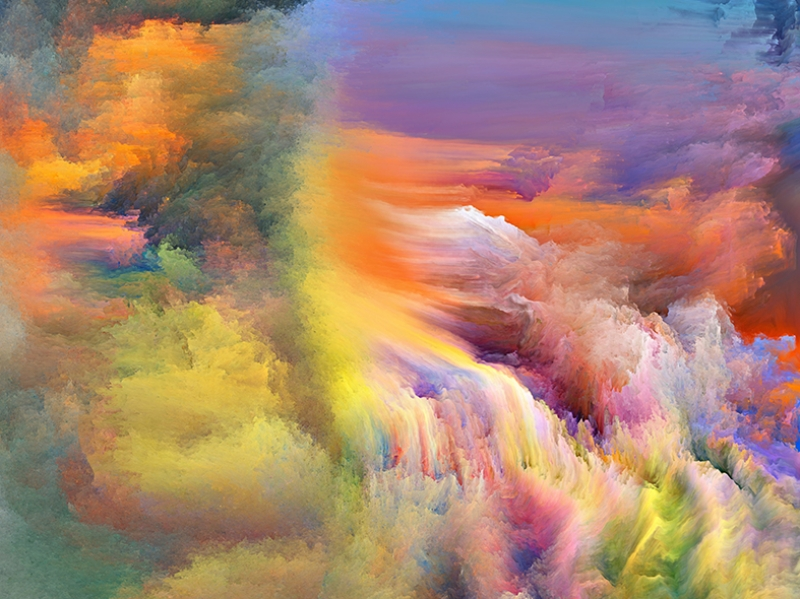 Renk Bulutları Abstract Yağlı Boya Sanat Kanvas Tablo