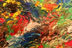Renk ve Guaj Etkisi Abstract Yağlı Boya Sanat Kanvas Tablo