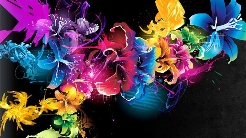 Renkli Abstract Dijital ve Fantastik Kanvas Tablo