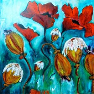 Renkli Çiçekler 1 Laleler Dekoratif   Kanvas Tablo