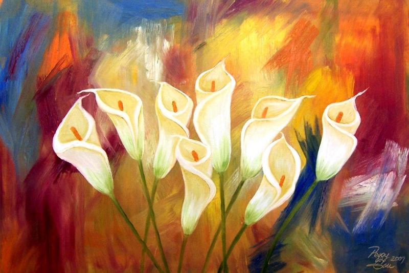 Renkli Çiçekler 2 Lila Bahçesi Çiçekleri Kanvas Tablo