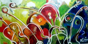 Renkli Çiçekler 3 Kemanlar Müzik Aletleri Yağlı Boya Sanat Kanvas Tablo