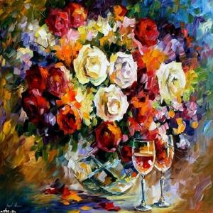 Renkli Çiçekler 4 Kemanlar Müzik Aletleri Dekoratif  Kanvas Tablo