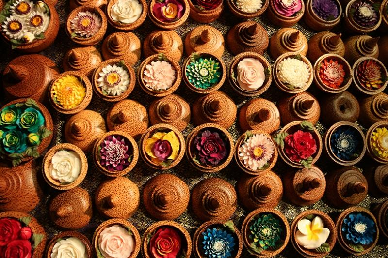Renkli Çiçekler ve Saksılar Fotoğraf Kanvas Tablo