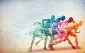 Renkli İnsan Koşu Kanvas Tablo