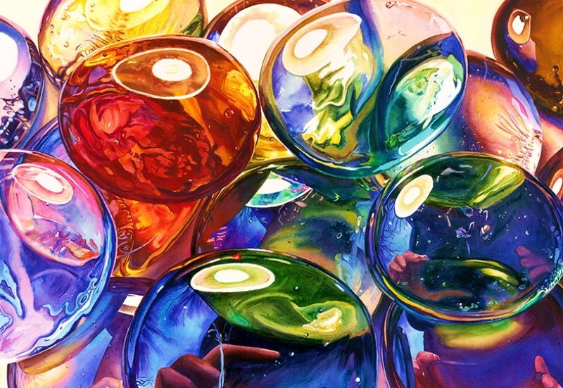 Renkli Kabarcıklar Abstract Dijital ve Fantastik Kanvas Tablo