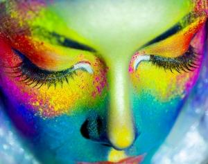 Renkli Kadın Fotoğraf Kanvas Tablo