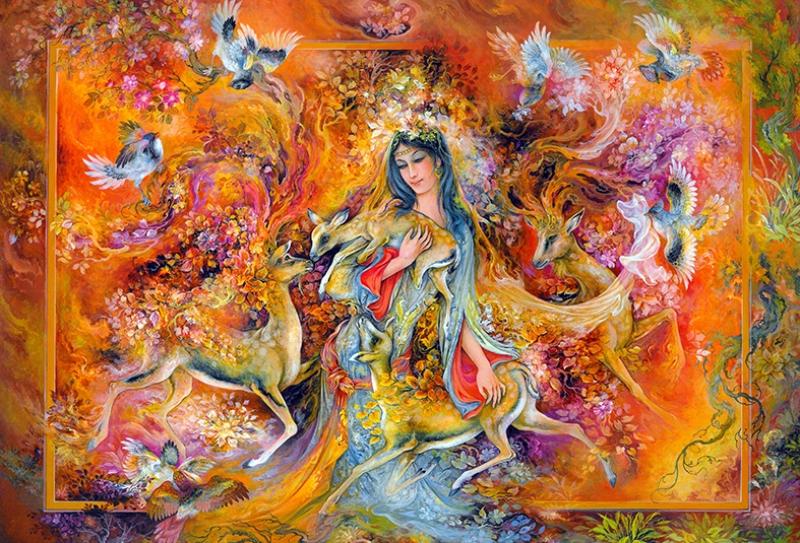 Renkli Kadın Yağlı Boya Sanat Kanvas Tablo