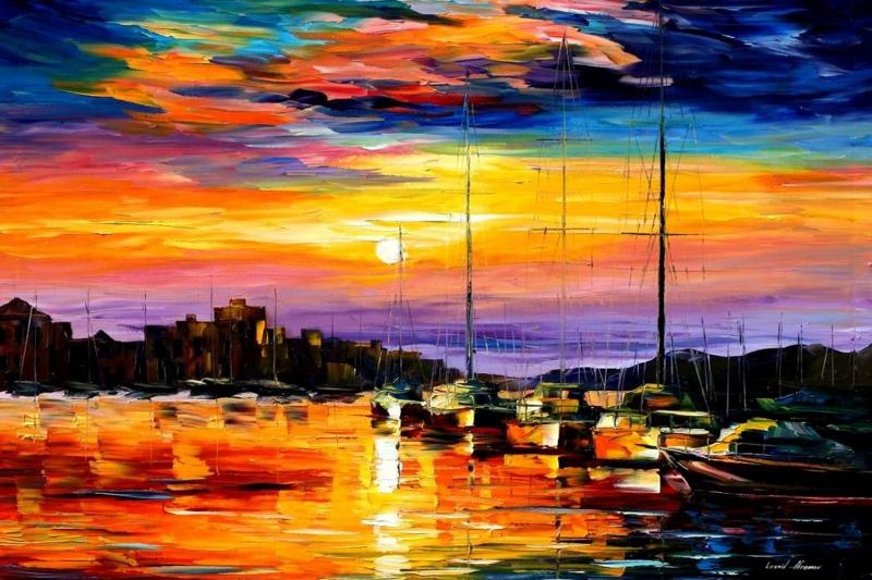 Renkli Kayıklar Gün Batımı, Deniz Manzara 3 Yağlı Boya Sanat Kanvas Tablo