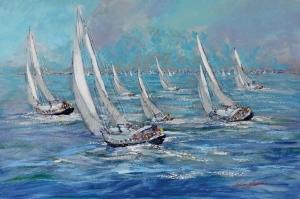 Renkli Kayıklar Gün Batımı, Deniz Manzara 5 Yağlı Boya Sanat Kanvas Tablo