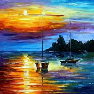 Renkli Kayıklar Gün Batımı Deniz Manzara Afremov 1 Dekoratif Kanvas Tablo