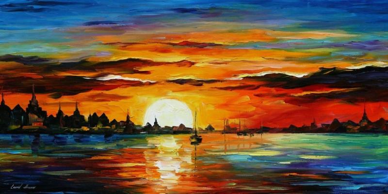 Renkli Kayıklar Gün Batımı Deniz Manzara Afremov 10 Yağlı Boya Sanat