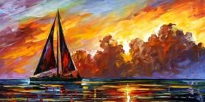 Renkli Kayıklar Gün Batımı Deniz Manzara Afremov 12 Yağlı Boya Sanat Kanvas Tablo