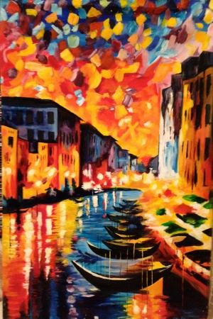 Renkli Kayıklar Gün Batımı Deniz Manzara, Afremov 13 Yağlı Boya Sanat Kanvas Tablo